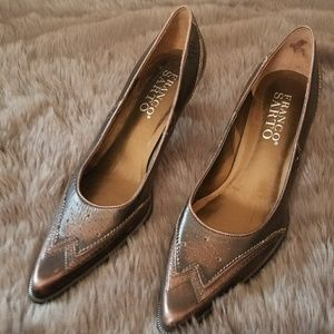 Franco Sarto bronze Oxford style pointed toe heels